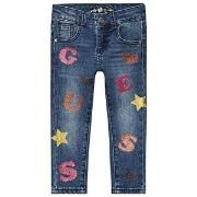 Guess Glitter Logo Baby Jeans Blå 4 years