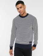 Calvin Klein – Strukturerad, randig tröja med rund halsringning-Vit